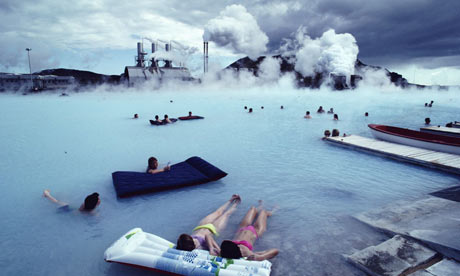 The Blue Lagoon Geothermal Spa, with Svartsengi Power Station in the background.
