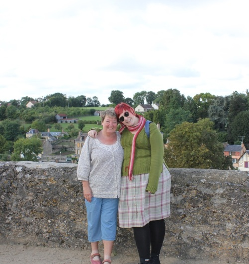 My aunt and I, hanging out near (yet another) chateau in Frênes.